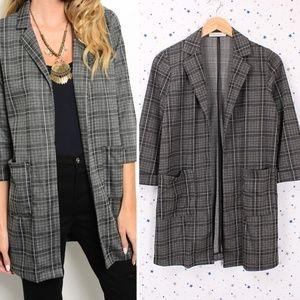 Jackets & Blazers - Open Front Plaid Blazer 3/4 Sleeve